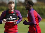 Football Soccer - England Training - Tottenham Hotspur Training Ground, Hertfordshire - 28/3/16  England's Jamie Vardy and Danny Welbeck during training  Action Images via Reuters / Andrew Couldridge  Livepic  EDITORIAL USE ONLY.