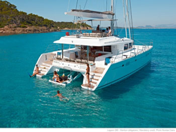 You can purchase a luxury catamaran for charter with crew.