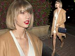 Taylor Swift was seen arriving for dinner at 'Madeo' Italian Restaurant in West Hollywood, CA. Taylor was carrying a small Blue designer handbag with a Gold Chain and wearing a beige Long jacket with a short dress\n\nPictured: Taylor Swift\nRef: SPL1253210  280316  \nPicture by: SPW / Splash News\n\nSplash News and Pictures\nLos Angeles: 310-821-2666\nNew York: 212-619-2666\nLondon: 870-934-2666\nphotodesk@splashnews.com\n