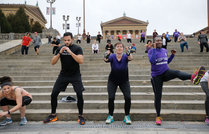 Katie Escott, Luis Gonzalez, Alison Buttenheim and Sanita Carter, left to right, were just four of many people who exercise on the steps of the Art Museum on the weekends. The warm weather brought people out to the art museum and Fairmount Park area.