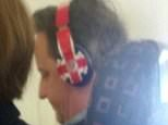 """David Cameron on an aeroplane, flying to Lanzarote wearing headphones  Material must be credited """"The Sun/News Syndication"""" unless otherwise agreed. 100% surcharge if not credited. Online rights need to be cleared separately. Strictly one time use only subject to agreement with News Syndication"""