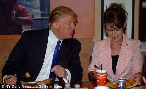 Conservative darlings: Trump met with Sarah Palin for a pizza lunch in July, though they were both ridiculed for using their utensils during the meal