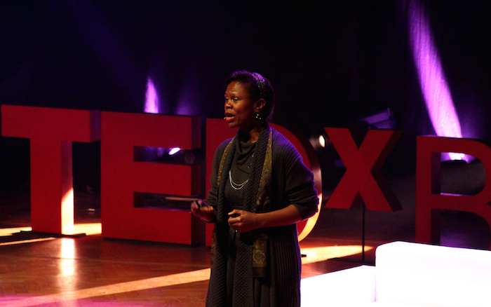 Yvonne Cagle speaking at TEDx Brussels.