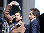"""EXCLUSIVE: March 29, 2016 - New York, New York, United States:  EXCLUSIVE:  Actors Ben Stiller and Adam Sandler photographed filming a courtyard argument scene for their new film """"Yeh Din Ka Kissa,"""" on location in Upstate NY.  Credit: AR Photo/Splash News  Pictured: Adam Sandler, Ben Stiller Ref: SPL1253903  290316   EXCLUSIVE Picture by: AR Photo/Splash News  Splash News and Pictures Los Angeles: 310-821-2666 New York: 212-619-2666 London: 870-934-2666 photodesk@splashnews.com"""