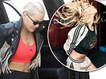30.March.2016 - Beverly Hills Ò USA *** STRICTLY AVAILABLE FOR UK AND GERMANY USE ONLY *** Beverly Hills, CA - Rita Ora arrives to the dermatologist office in a sporty look. The 25-year-old singer is decked out in Adidas wearing leggings and a sports bra paired with sneakers. Rita tops off her look with a fringe leather jacket and body chain. BYLINE MUST READ : AKM-GSI-XPOSURE ***UK CLIENTS - PICTURES CONTAINING CHILDREN PLEASE PIXELATE FACE PRIOR TO PUBLICATION *** *UK CLIENTS MUST CALL PRIOR TO TV OR ONLINE USAGE PLEASE TELEPHONE 0208 344 2007*