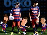 Mandatory Credit: Photo by REX/Shutterstock (5621661a) Arda Turan, Gerard Pique, Lionel Messi, Luis Suarez, Marc-Andre ter Stegen Beko Unveil Their New Official Partner of Play Campaign - 30 Mar 2016 Ahead of Saturdays El Clasico, Lionel Messi and his FC Barcelona teammates came face-to-face with animations of themselves for the first time as Beko unveiled its new Official partner of play campaign.