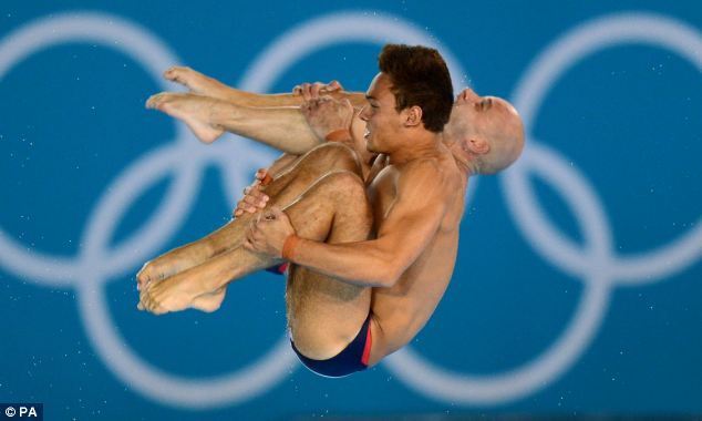 Tom Daley and Peter Waterfield during the Men's Synchronised 10m Platform Final on the third day of the Olympics