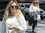 Beverly Hills, CA - Hilary Duff keeps it casual after shopping at Intermix. The singer was looking sporty with a white sweater, a denim button up tied around her waist, black leggings, and black sneakers.\nAKM-GSI      April 1, 2016\nTo License These Photos, Please Contact :\nSteve Ginsburg\n(310) 505-8447\n(323) 423-9397\nsteve@akmgsi.com\nsales@akmgsi.com\nor\nMaria Buda\n(917) 242-1505\nmbuda@akmgsi.com\nginsburgspalyinc@gmail.com