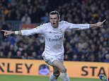 """Real Madrid's Welsh forward Gareth Bale celebrates his disallowed goal during the Spanish league """"Clasico"""" football match FC Barcelona vs Real Madrid CF at the Camp Nou stadium in Barcelona on April 2, 2016. / AFP PHOTO / JOSEP LAGOJOSEP LAGO/AFP/Getty Images"""