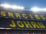 BARCELONA, SPAIN - APRIL 02:  Fans unveil a mosaic tribute to the former FC Barcelona player and manager, Johan Cruyff as the players shake hands before the La Liga match between FC Barcelona and Real Madrid CF at Camp Nou on April 2, 2016 in Barcelona, Spain.  (Photo by Paul Gilham/Getty Images)