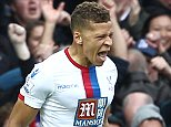 Dwight Gayle of Crystal Palace celebrates scoring his sides second goal   during the Barclays Premier League match between West Ham United and Crystal Palace    played at Boleyn Ground on 2nd April 2016 , London
