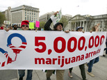 Demonstrators march for the legalization of marijuana outside of the White House, in Washington, Saturday, April 2, 2016. During the march they demanded Obama use his authority to stop marijuana arrests and pardon offenders. (AP Photo/Jose Luis Magana)