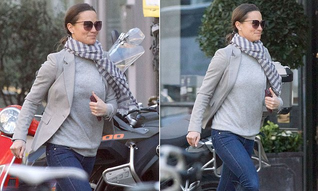 Pippa Middleton breaks into a jog on a sunny day out in Chelsea