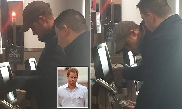 Prince Harry stuns Waitrose shoppers in west London as he is spotted using a self-service