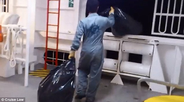 Dirty secret: A maritime lawyer posted videos sent to him by a former employee of MSC Cruises showing what was described as a crew member dumping trash bags into the ocean