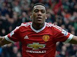 Manchester United's French striker Anthony Martial turns to celebrate after scoring the opening goal during the English Premier League football match between Manchester United and Everton at Old Trafford in Manchester, north west England, on April 3, 2016. / AFP PHOTO / OLI SCARFF / RESTRICTED TO EDITORIAL USE. No use with unauthorized audio, video, data, fixture lists, club/league logos or 'live' services. Online in-match use limited to 75 images, no video emulation. No use in betting, games or single club/league/player publications.  / OLI SCARFF/AFP/Getty Images