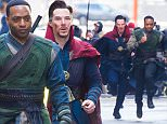 """NEW YORK, NEW YORK - APRIL 03:  Actors Benedict Cumberbatch (L) and Chiwetel Ejiofor are seen filming """"Doctor Strange"""" on April 3, 2016 in New York City.  (Photo by Michael Stewart/GC Images)"""