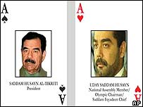 Two of the cards being issued to identify Iraq's most wanted, featuring Saddam Hussein and son Uday