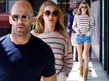 *EXCLUSIVE* Los Angeles, CA - Hollywood couple Rosie Huntington-Whiteley and Jason Statham stop by their favorite grocery store on this Sunday afternoon to stock top on fresh items. The blonde babe wore a cute colored striped sweater with Daisy Dukes showing off her long legs and beige suede fringe booties, while her man kept it simple with a navy blue tee and gray jeans.\nAKM-GSI     April 3, 2016\nTo License These Photos, Please Contact :\nSteve Ginsburg\n(310) 505-8447\n(323) 423-9397\nsteve@akmgsi.com\nsales@akmgsi.com\nor\nMaria Buda\n(917) 242-1505\nmbuda@akmgsi.com\nginsburgspalyinc@gmail.com