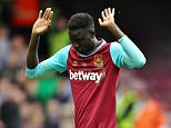 Cheikhou Kouyate of West Ham United reacts after red card   during the Barclays Premier League match between West Ham United and Crystal Palace    played at Boleyn Ground on 2nd April 2016 , London