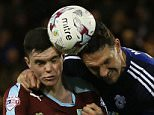 Burnley's Michael Keane and Cardiff City's Sean Morrison during the Sky Bet Championship match between Burnley and Cardiff City played at Turf Moor, Burnley on April 5th 2016