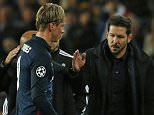 Football Soccer - FC Barcelona v Atletico Madrid - UEFA Champions League Quarter Final First Leg - The Nou Camp, Barcelona, Spain - 5/4/16  Atletico Madrid's Fernando Torres walks off dejected past manager Diego Simeone after being sent off  Reuters / Albert Gea  Livepic  EDITORIAL USE ONLY.