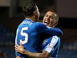 Rangers' James Tavernier (right) celebrates scoring his side's first goal with team-mate Harry Forrester during the Ladbrokes Scottish Championship match at Ibrox Stadium, Glasgow. PRESS ASSOCIATION Photo. Picture date: Tuesday April 5, 2016. See PA story SOCCER Rangers. Photo credit should read: Andrew Milligan/PA Wire. EDITORIAL USE ONLY