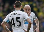 """Football Soccer - Norwich City v Newcastle United - Barclays Premier League - Carrow Road - 2/4/16  Newcastle's Aleksandar Mitrovic and Jonjo Shelvey dejected after Norwich's second goal  Action Images via Reuters / Andrew Boyers  Livepic  EDITORIAL USE ONLY. No use with unauthorized audio, video, data, fixture lists, club/league logos or """"live"""" services. Online in-match use limited to 45 images, no video emulation. No use in betting, games or single club/league/player publications.  Please contact your account representative for further details."""