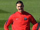 Paris Saint-Germain's Swedish forward Zlatan Ibrahimovic (L) grimaces during a training session on April 5, 2016 in Saint-Germain-en-Laye, western Paris, on the eve of the team's UEFA Champions League football match against Manchester City. / AFP PHOTO / FRANCK FIFEFRANCK FIFE/AFP/Getty Images