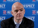 """FILE PHOTO: FIFA president Gianni Infantino is """"dismayed"""" and """"will not accept"""" that his integrity is being doubted, in relation to documents leaked from the Panamanian law firm Mossack Fonseca. UEFA Secretary General Gianni Infantino speaks at a press conference about the qualifying draw for the UEFA EURO 2016 tournament, in Nice, France, 22 February 2014. This time, 24 teams will take part in the competition. The draw will be held on 23 February. Gianni Infantino, UEFA's general secretary, will enter the race to be the next FIFA president. Photo by Patrice Masante/Pixel Press/ABACAPRESS.COM ... Infantino To Run For FIFA President ... 27-10-2015 ... Nice ... France ... Photo credit should read: Masante Patrice/Unique Reference No. 24561135 ..."""