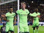Kevin De Bruyne of Manchester City celebrates scoring his goal to make the score 0-1 during the UEFA Champions League Quarter Final First Leg match between Paris Saint-Germain and Manchester City played at Parc des Princes, Paris on April 6th 2016