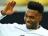 Nathaniel Clyne of Liverpool jokes with Daniel Sturridge of Liverpool during   the training session  the UEFA Europa League Quarter-finals match between Borussia Dortmund and Liverpool , Leg 1 match  at Signal Iduna Park   on 6th April 2016 in Dortmund , Germany