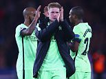 PARIS, FRANCE - APRIL 06: Kevin de Bruyne of Manchester City applauds the away supporters after his team's 2-2 draw in the UEFA Champions League Quarter Final First Leg match between Paris Saint-Germain and Manchester City at Parc des Princes on April 6, 2016 in Paris, France.  (Photo by Clive Rose/Getty Images)