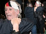 Picture Shows: Keith Richards  April 04, 2016    * Min Web / Online Fee £250 For Set *    Keith Richards is seen to be being helped into his hotel by two bodyguards who appear to sweep him off his feet. His hat is seen being put back on his head by one of them.    * Min Web / Online Fee £250 For Set *    Exclusive All Rounder  WORLDWIDE RIGHTS  Pictures by : FameFlynet UK © 2016  Tel : +44 (0)20 3551 5049  Email : info@fameflynet.uk.com