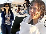 Picture Shows: Maggie Gyllenhaal  April 01, 2016\n \n Actress Maggie Gyllenhaal is spotted chatting on her phone while filming an unknown project on the beach in Los Angeles, California. Maggie used an umbrella to hide from the sun in between takes.\n \n Exclusive All Rounder\n UK RIGHTS ONLY\n Pictures by : FameFlynet UK © 2016\n Tel : +44 (0)20 3551 5049\n Email : info@fameflynet.uk.com