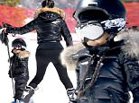 Thursday, April 7, 2016 - Kim Kardashian teachers her 2 1/2-year-old daughter North to ski, during a family trip to Vail, Colorado.  Kanye went along to help his little girl, as well, while the parents-of-two left son Saint back in LA with the nanny.  X17online.com
