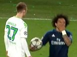 Marcelo feigning injury after kicking and butting his opponent - Wolfsburg v Real Madrid