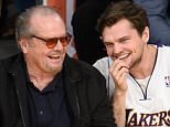 LOS ANGELES, CALIFORNIA - APRIL 06:  Jack Nicholson (L) and Ray Nicholson attend a basketball game between the Los Angeles Clippers and the Los Angeles Lakers at Staples Center on April 6, 2016 in Los Angeles, California.  (Photo by Noel Vasquez/GC Images)
