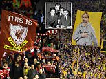 LIVERPOOL, ENGLAND - OCTOBER 22:  Liverpool fans celebrate Jurgen Klopp by holding up a banner prior to the UEFA Europa League match between Liverpool and Rubin Kazan at Anfield on October 22, 2015 in Liverpool, United Kingdom.  (Photo by Matthew Ashton - AMA/Getty Images)