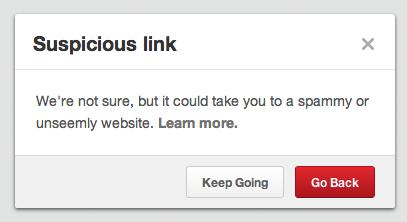 suspicious link on Pinterest