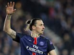 PSG's Zlatan Ibrahimovic gestures during the Champions League quarterfinal first leg soccer match between Paris St Germain and Manchester City at the Parc des Princes stadium in Paris, Wednesday, April 6, 2016. (AP Photo/Christophe Ena)