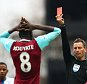 LONDON, ENGLAND - APRIL 02:  Cheikhou Kouyate of West Ham United is shown a red card by referee Mark Clattenburg during the Barclays Premier League match between West Ham United and Crystal Palace at the Boleyn Ground on April 2, 2016 in London, England.  (Photo by Clive Rose/Getty Images) *** BESTPIX ***