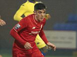 BIRKENHEAD, ENGLAND - JANUARY 19:  (THE SUN OUT, THE SUN ON SUNDAY OUT) Daniel Trickett-Smith of Liverpool and Tommaso Bianchi of Leeds United in action during the Liverpool v Leeds United U21 Premier League Cup game at Prenton Park on January 19, 2016 in Birkenhead, England.  (Photo by Nick Taylor/Liverpool FC via Getty Images)