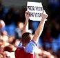 BIRMINGHAM, ENGLAND - APRIL 02: An Aston Villa supporter holds up a banner saying 'proud history what future' during during the Barclays Premier League match between Aston Villa and Chelsea at Villa Park on April 2, 2016 in Birmingham, England. (Photo by James Baylis - AMA/Getty Images)