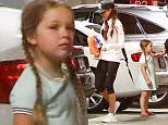 Picture Shows: Victoria Beckham, Harper Beckham  April 05, 2016    The Beckham family was spotted heading to Soul Cycle in Beverly Hills, California. Missing from the group was Brooklyn and Romeo Beckham.    Non Exclusive  UK RIGHTS ONLY    Pictures by : FameFlynet UK © 2016  Tel : +44 (0)20 3551 5049  Email : info@fameflynet.uk.com