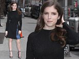 06.April.2016 - New York ñ USA\n*** STRICTLY AVAILABLE FOR UK AND GERMANY USE ONLY ***\nNew York, NY - Anna Kendrick arrives at the Ed Sullivan Theatre for an appearance on 'The Late Show with Stephen Colbert' in New York City to promote the movie 'Mr. Right' with co-star Sam Rockwell.\nBYLINE MUST READ : AKM-GSI-XPOSURE\n***UK CLIENTS - PICTURES CONTAINING CHILDREN PLEASE PIXELATE FACE PRIOR TO PUBLICATION ***\n*UK CLIENTS MUST CALL PRIOR TO TV OR ONLINE USAGE PLEASE TELEPHONE 0208 344 2007*\n