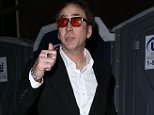 Picture Shows: Nicolas Cage  April 02, 2016    When you gotta go, you gotta go! Actor Nicolas Cage was spotted giving a thumbs up after using a Porta-Loo after attending the surprise Guns N' Roses concert at the Troubadour Nightclub in Los Angeles, California.    EXCLUSIVE ALL ROUNDER  UK RIGHTS ONLY  Pictures by : FameFlynet UK � 2016  Tel : +44 (0)20 3551 5049  Email : info@fameflynet.uk.com