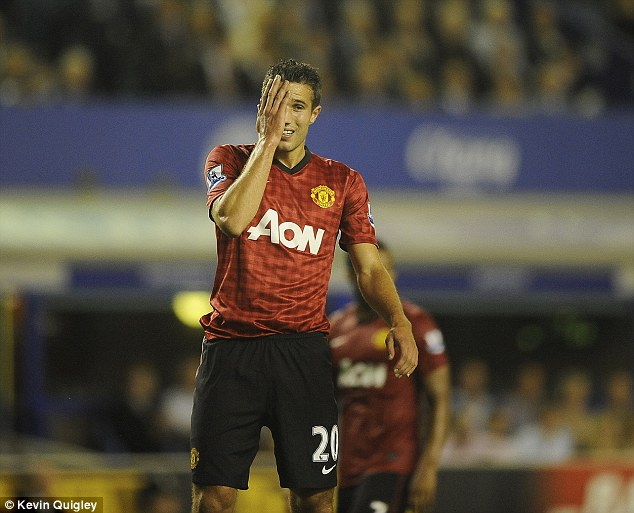 Disappointing: Van Persie did not score or make much of an impact off the bench as United lost to the Toffees