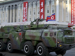 FILE - In this Saturday, Oct. 10, 2015, file photo, what is believed to be an improved version of the KN-08 intercontinental ballistic missile is paraded in Pyongyang, North Korea, during the 70th anniversary celebrations of its ruling party's creation. North Korea said Saturday, April 9, 2016, it has successfully tested a new intercontinental ballistic rocket engine that will give it the ability to stage nuclear strikes on the United States. (AP Photo/Wong Maye-E, File)