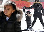 Thursday, April 7, 2016 - Kanye West plays in the snow with daughter North West in Vail during a family trip with Kim Kardashian and grandmother Kris Jenner, Corey Gamble, Kourtney Kardashian, Scott Disick, and Khloe Kardashian. X17online.com